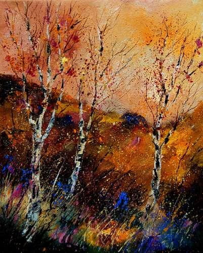 pol ledent, falling leaves, Landschaft: Herbst, expressiver Realismus, Expressionismus