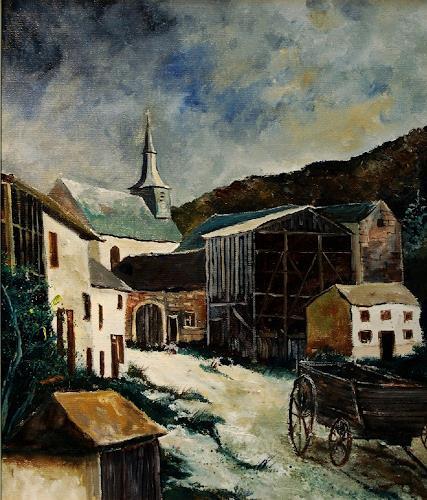 pol ledent, Laforet Vresse Belgium, Diverse Landschaften, Wohnen: Dorf, Neo-Expressionismus, Gegenwartskunst