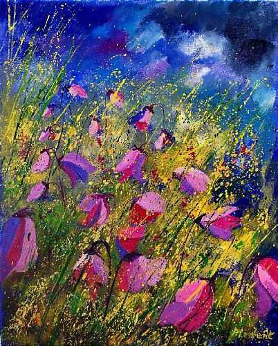 pol ledent, Purple wild flowers, Landschaft: Sommer, Pflanzen: Blumen, Romantik, Expressionismus
