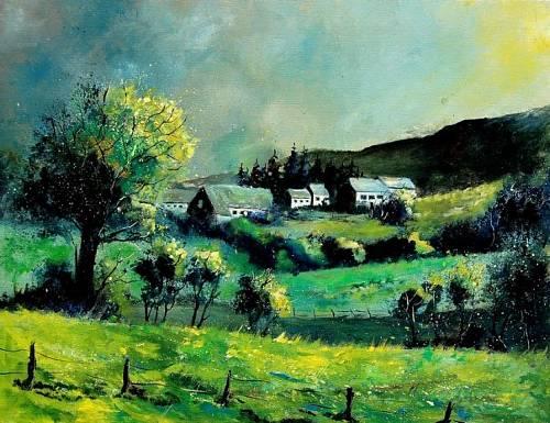 pol ledent, spring in the ardennes, Landschaft: Frühling, Natur: Diverse, Land-Art, Expressionismus