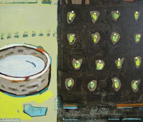 Maria Gust, Beet und Brunnen, Pflanzen, Abstraktes, Gegenwartskunst
