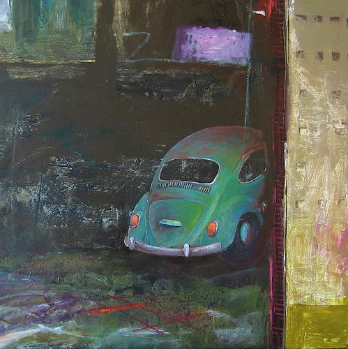 Maria Gust, Schätzchen - Quadrat, Dekoratives, Verkehr: Auto, Gegenwartskunst, Abstrakter Expressionismus
