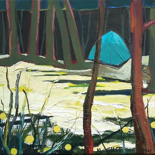 Maria Gust, In the wood, Diverse Menschen, Diverse Landschaften, Gegenwartskunst, Expressionismus