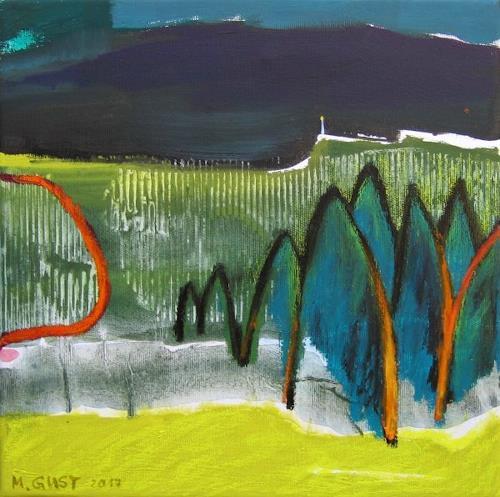 Maria Gust, Nacht zieht auf, Landschaft, Gegenwartskunst, Expressionismus