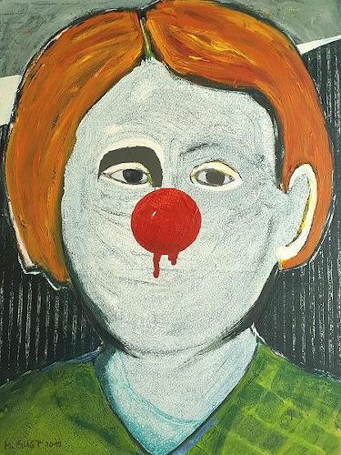Maria Gust, Nicht lachen!, Menschen, Diverse Gefühle, Gegenwartskunst, Abstrakter Expressionismus