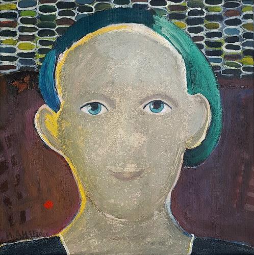 Maria Gust, Der Blick, Menschen: Frau, Diverse Gefühle, Gegenwartskunst, Abstrakter Expressionismus
