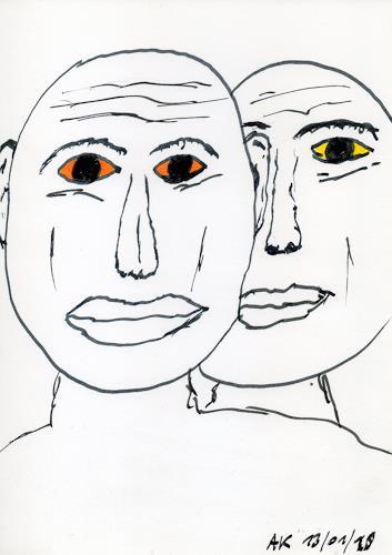 AndReaS KoVaR, Die Geschichte 01, Diverse Menschen, Symbol, Naive Kunst