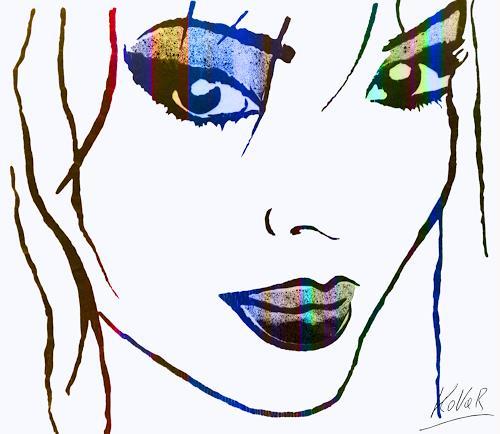 AndReaS KoVaR, 08114 Gesicht 11, Menschen: Frau, Diverse Erotik, Gegenwartskunst, Expressionismus