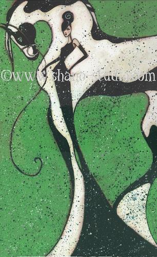 Jugendstil Malerei gypsies shano tiere land fashion malerei
