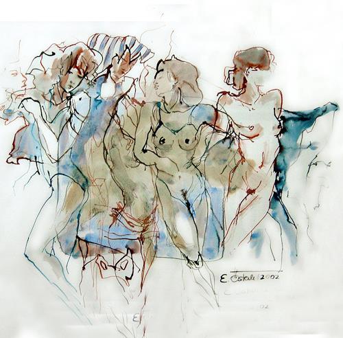 E.Oesterle, Ägyptische Tänzerinnen, Diverse Erotik, Bewegung, Neuzeit, Expressionismus