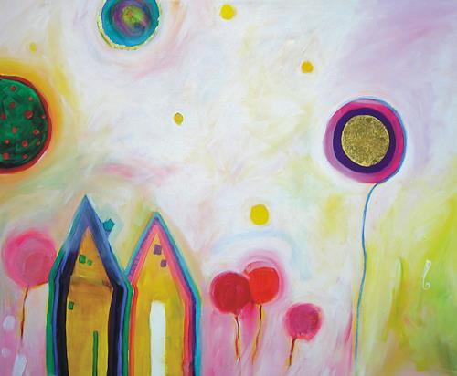 Hilde Zielinski, Cottages grow up to Palaces, Fantasie, Poesie, Gegenwartskunst, Expressionismus