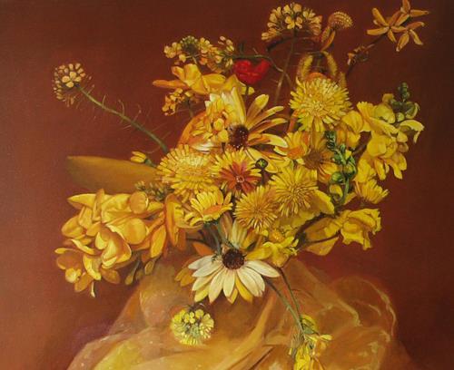 Lorenzo Antognetti, '' Fiori gialli ''  di Lorenzo Antognetti, Stilleben, Realismus