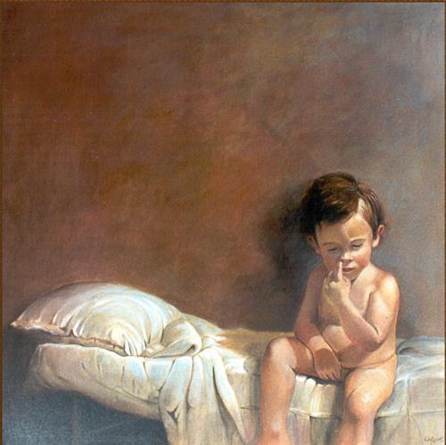 Lorenzo Antognetti, '' Mio figlio Riccardo '' di Lorenzo Antogneetti, Menschen: Porträt, Realismus, Expressionismus