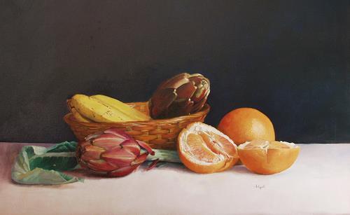 Lorenzo Antognetti, '' Composizione con aranci '' di Lorenzo Antognetti, Stilleben, Realismus, Expressionismus