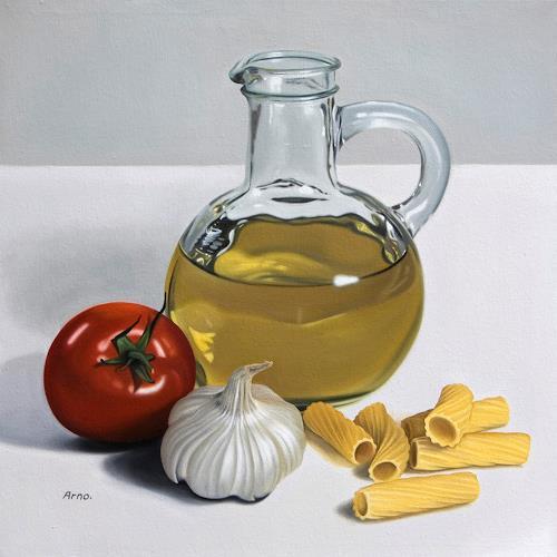Kerstin Arnold, Rigatoni con salsa di pomodoro, Stilleben, Essen, Realismus, Expressionismus