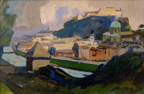 Franz Brandner, Ansicht v.Salzburg, Diverse Bauten, Landschaft: Hügel, Der Blaue Reiter, Expressionismus