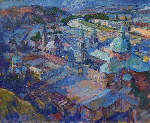 Franz Brandner, view of Salzburg, Diverse Bauten, Diverse Landschaften, Postimpressionismus