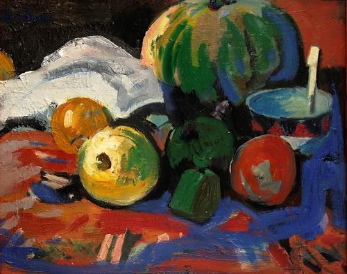 Franz Brandner, Stilleben mit Melone, Stilleben, Pflanzen: Früchte, Fauvismus, Expressionismus