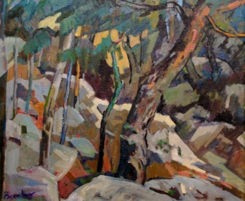 Franz Brandner, Foehrenwald, Landschaft: Berge, Natur: Wald, Neo-Expressionismus