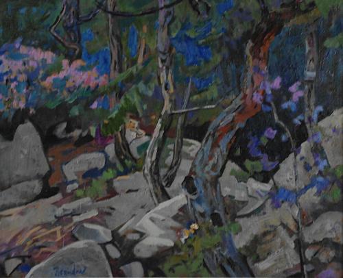 Franz Brandner, Fruehling im Foehrenwald, Landschaft: Frühling, Natur: Wald, Neo-Impressionismus