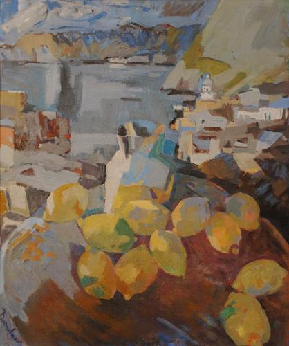 Franz Brandner, Stillife with Lemon, Stilleben, Landschaft: Tropisch, Kubismus, Expressionismus
