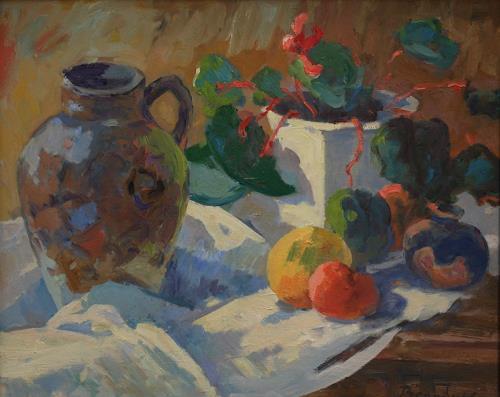 Franz Brandner, Stilleben mit Krug, Stilleben, Pflanzen: Früchte, Postimpressionismus, Expressionismus