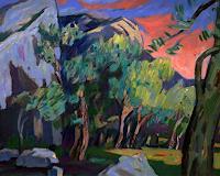 Franz-Brandner-Landschaft-Berge-Natur-Gestein-Moderne-Expressionismus-Der-Blaue-Reiter