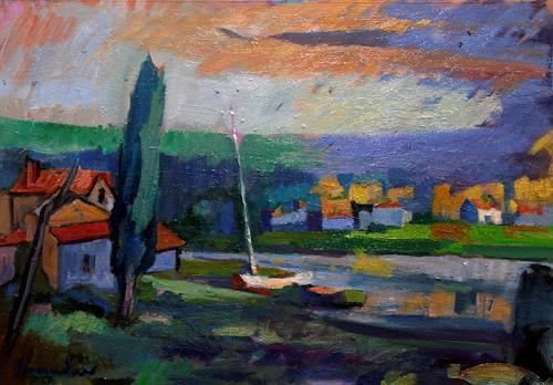 Franz Brandner, Flussufer, Diverse Landschaften, Natur: Wasser, Fauvismus