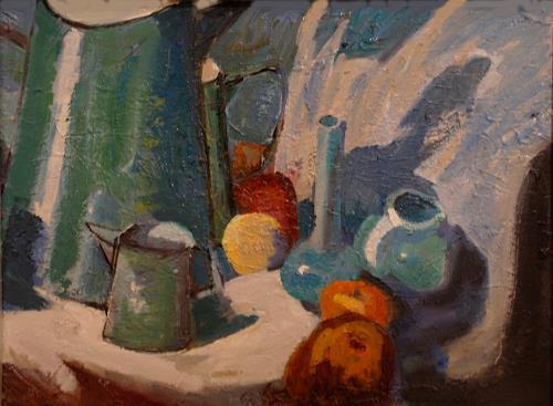 Franz Brandner, Stilleben mit Kanne, Stilleben, Natur: Diverse, Fauvismus, Expressionismus