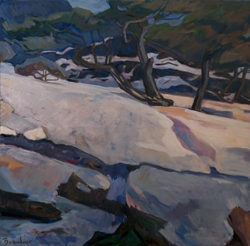 Franz Brandner, Schnee im Gebirge, Landschaft: Winter, Natur: Gestein, Fauvismus, Expressionismus