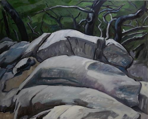 Franz Brandner, rocks in the forest, Landschaft: Berge, Natur: Gestein, Fauvismus