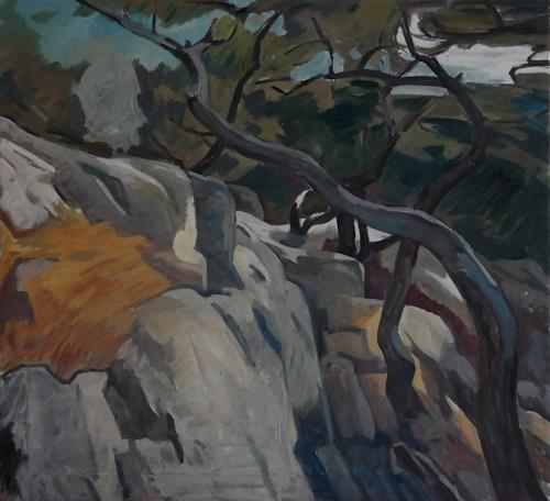 Franz Brandner, Mountain side, Landschaft: Berge, Natur: Gestein, Fauvismus