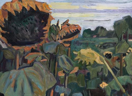 Franz Brandner, Sunflowers, Pflanzen: Blumen, Natur: Diverse, Fauvismus, Abstrakter Expressionismus