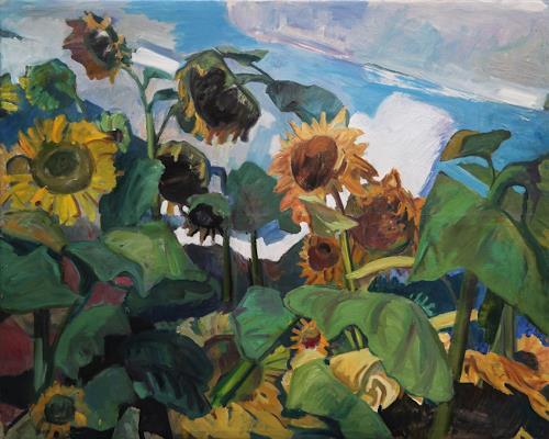Franz Brandner, Sunflower field, Natur: Diverse, Landschaft: Sommer, Fauvismus, Expressionismus