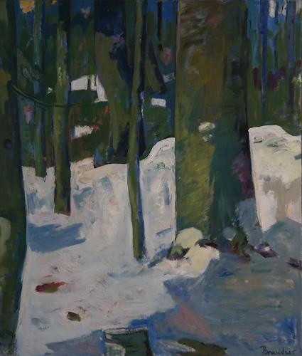 Franz Brandner, Schnee im Wald, Landschaft: Winter, Natur: Wald, Fauvismus, Expressionismus