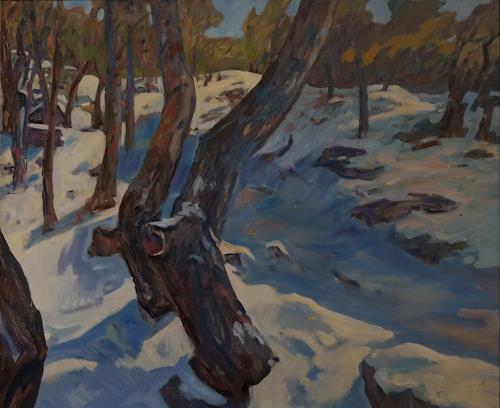 Franz Brandner, Snow in the forest, Landschaft: Winter, Natur: Wald, Postimpressionismus