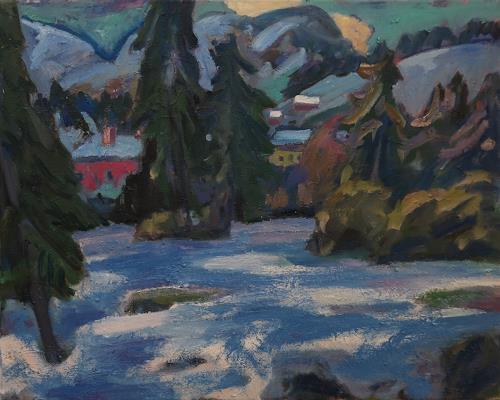 Franz Brandner, Winter, Landschaft: Winter, Natur: Wald, Fauvismus, Expressionismus