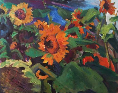 Franz Brandner, Sonnenblumen am Feld, Pflanzen: Blumen, Landschaft: Sommer, Der Blaue Reiter