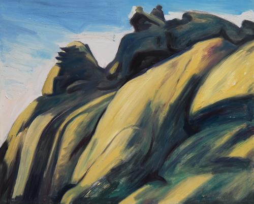 Franz Brandner, yellow rocks, Landschaft: Berge, Natur: Gestein, Neo-Expressionismus, Expressionismus