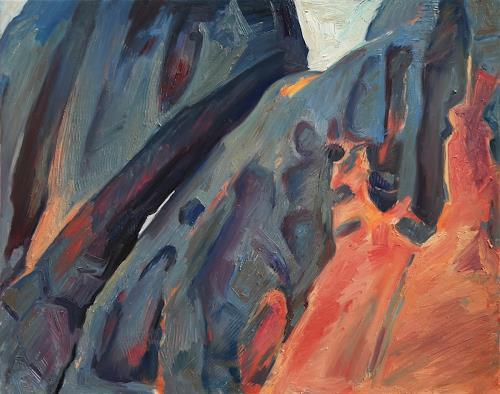 Franz Brandner, red & blue rocks, Landschaft: Berge, Natur: Gestein, Neo-Expressionismus
