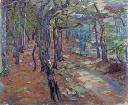 Franz Brandner, Forest3, Landschaft: Sommer, Natur: Wald, Postimpressionismus, Expressionismus