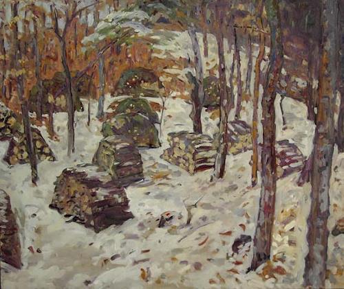 Franz Brandner, Winter on Acha Mountain, Landschaft: Winter, Natur: Wald, Postimpressionismus