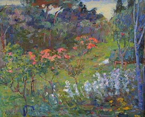 Franz Brandner, Spring blossoms, Landschaft: Frühling, Natur: Diverse, Postimpressionismus, Expressionismus