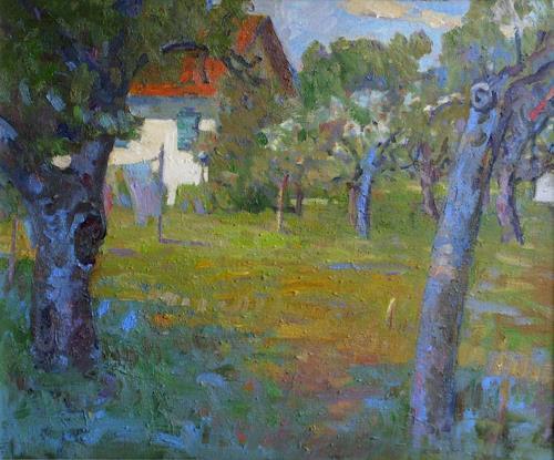 Franz Brandner, Farmstead, Landschaft: Ebene, Natur: Diverse, Postimpressionismus, Expressionismus