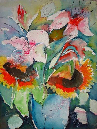 Ingeborg Schnöke, Sonnenblumen und Lilien in blauer Vase, Pflanzen: Blumen, Expressionismus