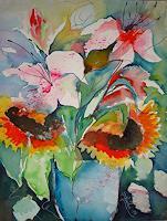 I. Schnöke, Sonnenblumen und Lilien in blauer Vase