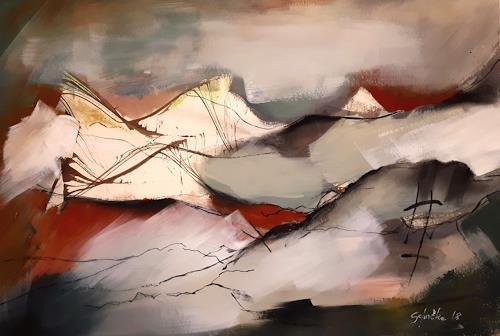 Ingeborg Schnöke, Frühlingserwachen, Landschaft: Strand, Poesie, Abstrakte Kunst, Expressionismus