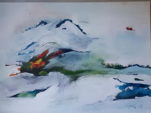 Ingeborg Schnöke, Auf den Flügeln meiner Sehnsucht, Landschaft, Poesie, Abstrakte Kunst