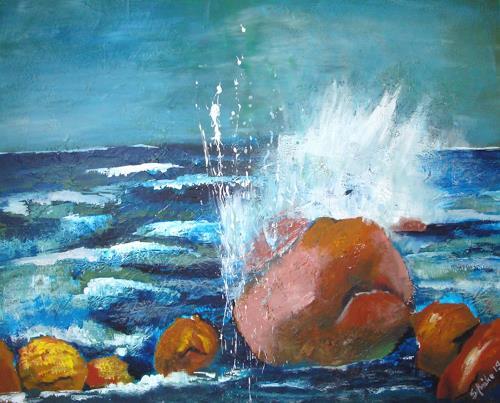 Ingeborg Schnöke, Bornholm Wetsküste, Landschaft: See/Meer, Abstrakte Kunst, Expressionismus