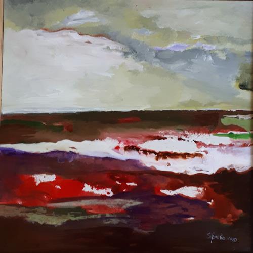 Ingeborg Schnöke, Weites Land, Landschaft, Landschaft, expressiver Realismus, Abstrakter Expressionismus